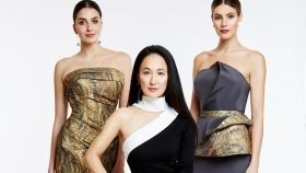 Luly Yang with two models